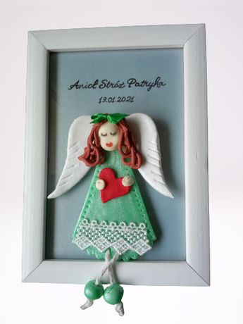 Anioł Stróż Pamiątka Prezent Chrzest Narodziny