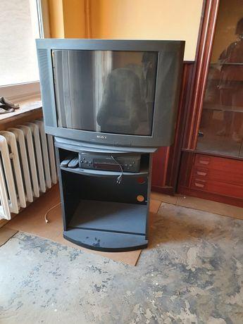 Półka pod telewizor wraz z telewizorem sony