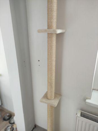 Drapak sufitowy dla kota do sufitu jak nowy rozporowy 255 cm beżowy