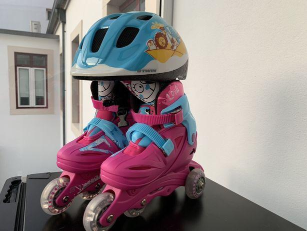 Patins em linha criança mais capacete