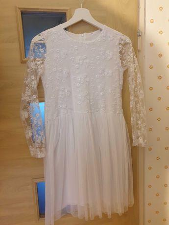 Komunia sukienka wesele tiul hafty biała bawełna 152