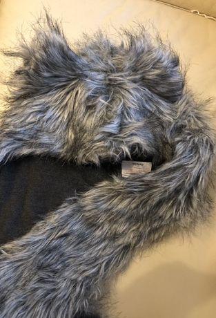 Czapka zimowa z uszkami i szalowym wiązaniem-cieplutka,duża
