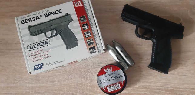 Wiatrówka pistolet BERSA BP9CC komplet - śruty i naboje gazowe