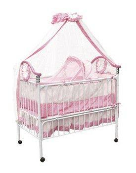 Детская кроватка Geoby (Джеоби, Джоби)  Белая с розовым