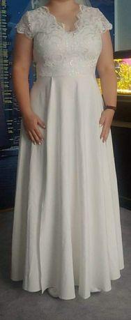 Suknia ślubna 44 / 46 długa, krótki rękawek, ecru / śmietankowa