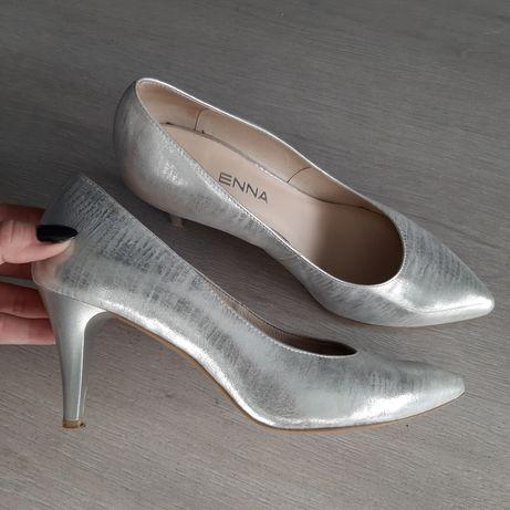 Ślubne buty niewielki obcas 37 skóra naturalna 24cm srebrne jak NOWE!