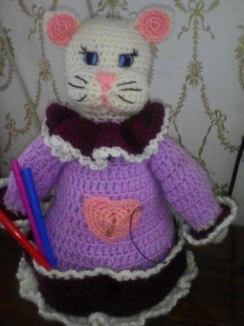 Кошечка - органайзер, вязаная игрушка, кошка, ручная работа