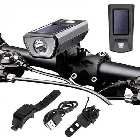 Велозвонок + велофара FY-316, солнечная батарея, вело фонарь, кнопка