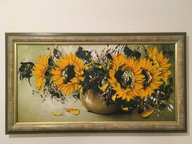 Słoneczniki obraz z piękną ramą