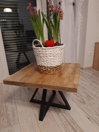 Stolik kawowy LOFT lakierowany  drewno dąb