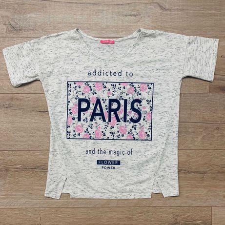Белая футболка короткий рукав принт цветы буквы Paris Париж размер M-L