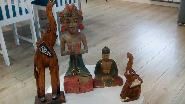 Figurki 3 drewniane Budda odlew