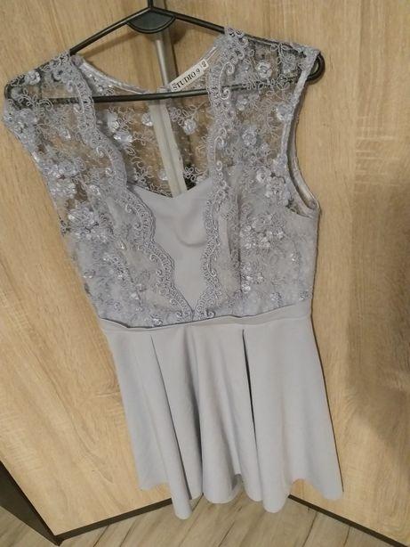 Śliczna sukienka szara rozkloszowana koronka wesele