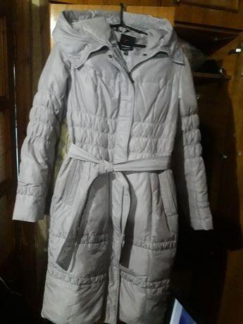 Пальто пуховик женский светло серо- сиреневого цвета размер 44 46