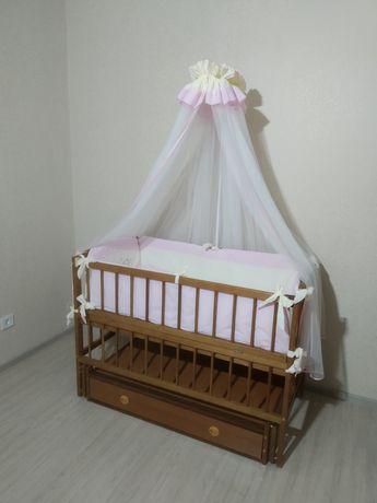 Кроватка с постелькой,Детская кровать Дубок со всем что на фото+матрас