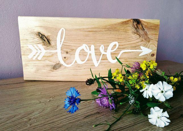 Drewniana tabliczka z napisem love, deska z napisem, prezent na ślub