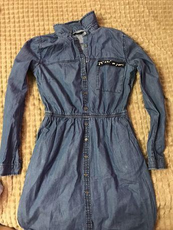Джинсовое платье- рубашка.