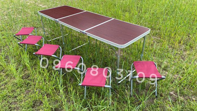 УДОБНЫЙ Стол 1.8 м + 6 стульев. Раскладной столик для пикника, стіл