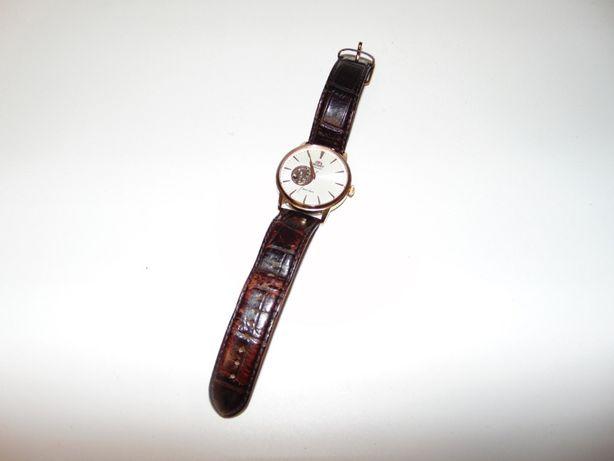 Часы мужские Orient, полускелетон, позолота, кожаный ремешок