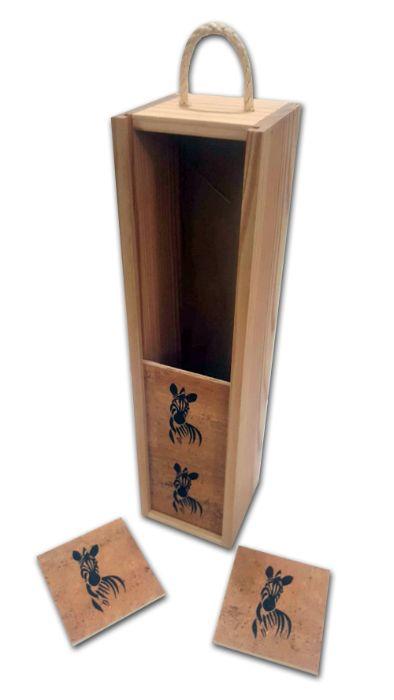 Caixa de Madeira para garrafa com 4 bases de copos