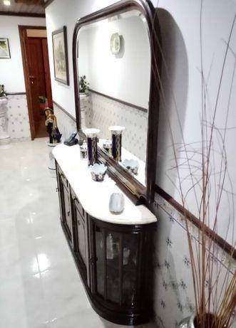 Sapateira / Moral espelho incluído, madeira maciça com pedra mármore.