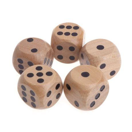 Игральные кости деревянные, набор 5 шт.