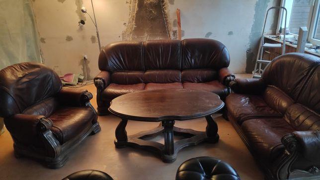 Sofa wypoczynek skórzany ława komplet