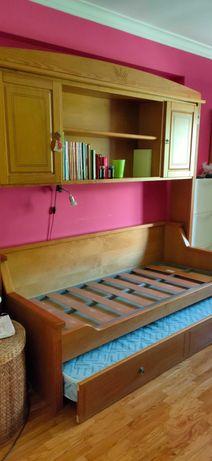 Cama solteiro dupla (maciça pinho mel)+2 colchões+Móvel