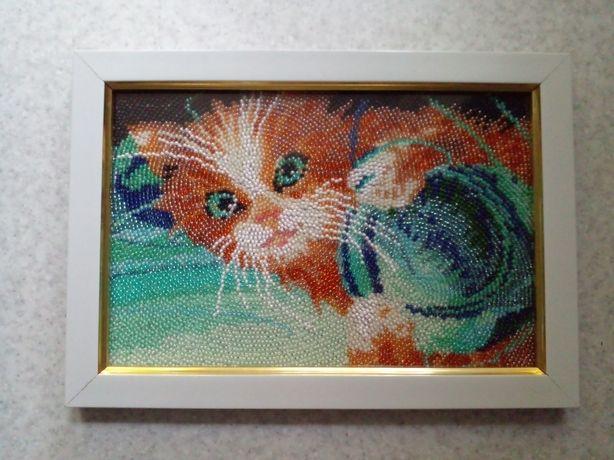 Картина бисером Котик с клубком