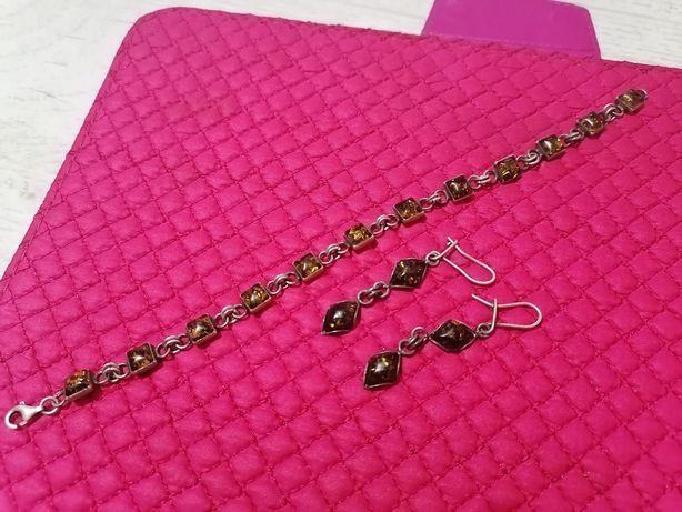Srebrna biżuteria z bursztynem