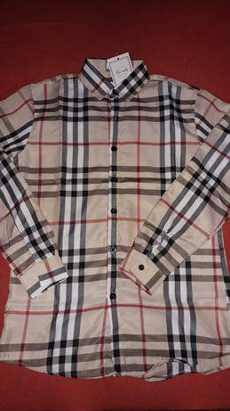 Koszula w kratę beżowa czarna czerwona xl