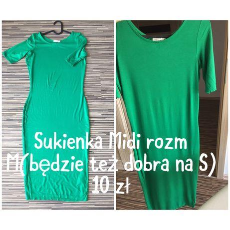 Zielona ołówkowa sukienka midi