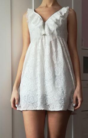 Biała kremowa koronkowa koronka zamek sukienka Bik Bok S