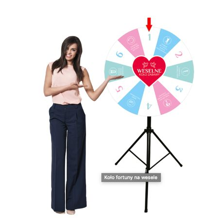 Weselne koło fortuny 90 cm na stojaku z dowolną grafiką + Twoje logo