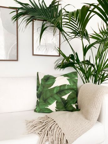 Poszewka na poduszkęH&M palmy 50x50 bawełniana