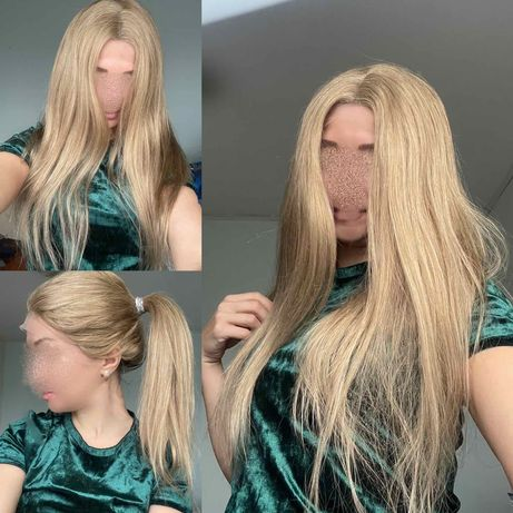 Натуральный парик система кожи натуральный славянский детский волос!