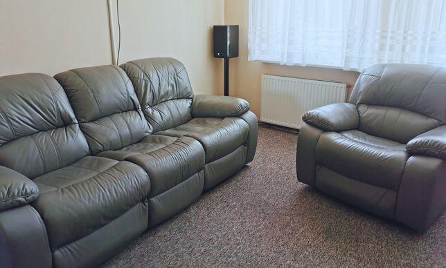 Sprzedam komplet skórzany z funkcją rekax - fotel bujany i obrotowy