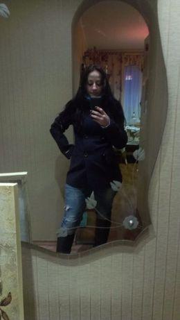 Пальто синее