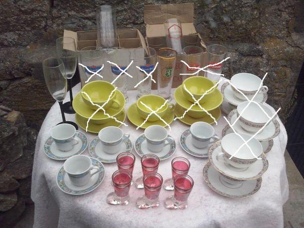 loiça,pratos. chávenas de café e chá e copos