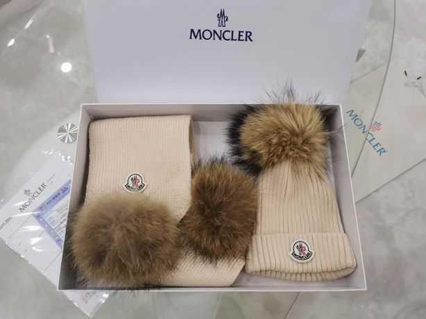 Детская шапка и шарф Moncler, набор, комплект
