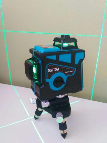Лазерный уровень нивелир Hilda 3d бирюзовый луч 12 линий