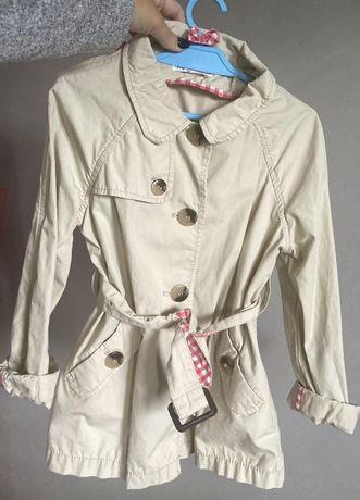 Plaszcz plaszczyk prochowiec dla dziewczynki h&m 128 cm