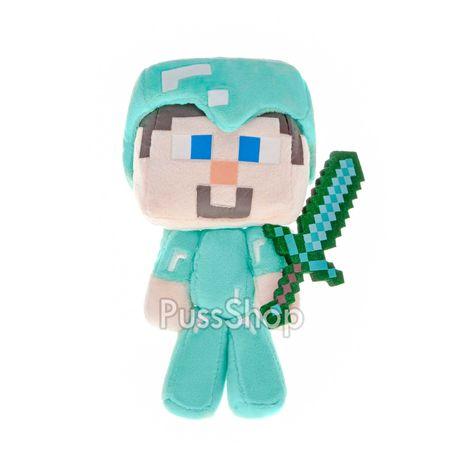 Мягкая игрушка герой Майнкрафт Стив в алмазной броне 18 см Minecraft