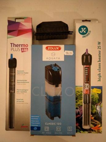 Akcesoria do akwarium - Filtr wewnętrzny, grzałka z termostatem +inne