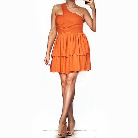 Sukienka pomarańczowa H&M, r. L, asymetryczna na jedno ramię, śliczna