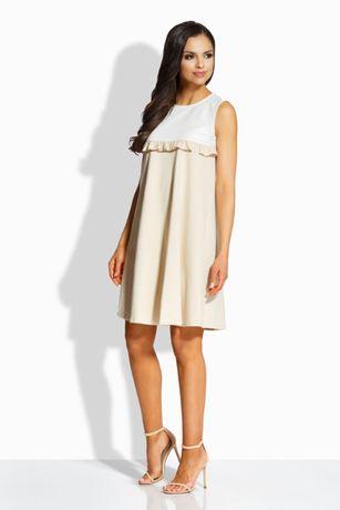 Luźna Bawełniana Sukienka Ciąża - beż