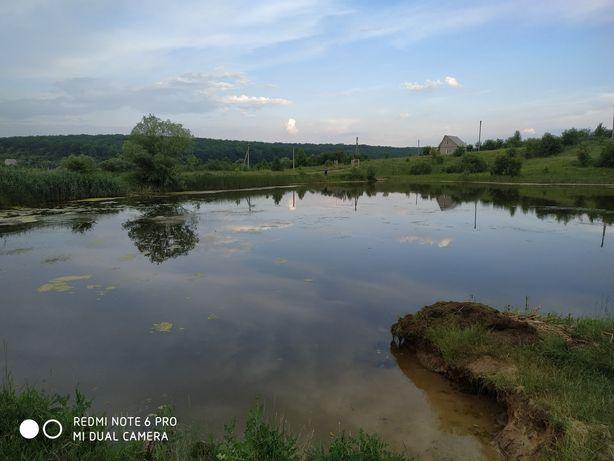 Участок земли у озера и леса