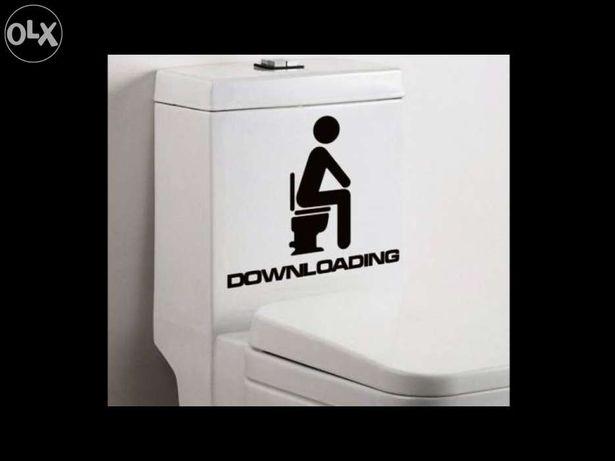Autocolante adesivo downloading decoração casa de banho sanita