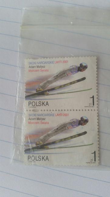 2 znaczki z Adamem Małyszem