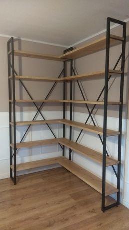 Piękny regał narożny loft industrial półka na książki na zamowienie